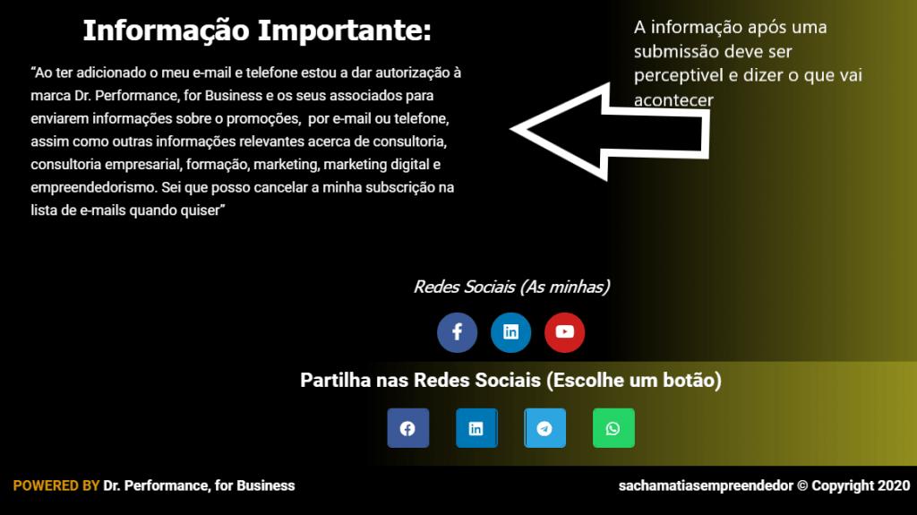 Consentimento informado na subscrição de um formulário, por Sacha Matias e Dr Performance, for Business