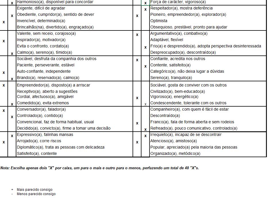 Exemplo de um Perfil DISC preenchido, por Sacha Matias e Dr Performance for Business